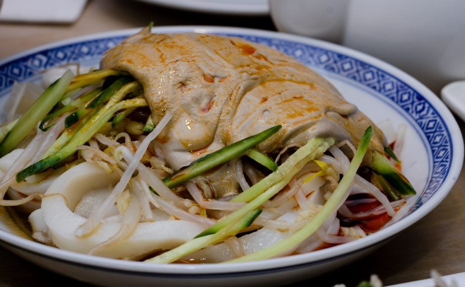 Oil Splashed Handpulled Noodles with Vegetables.